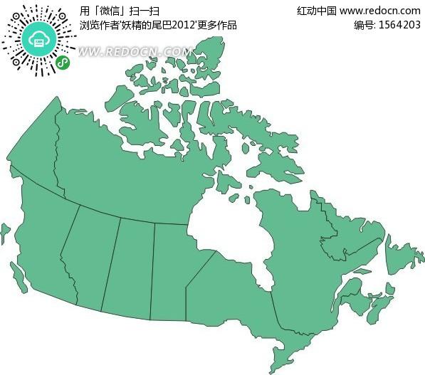 手绘加拿大绿色行政划分图