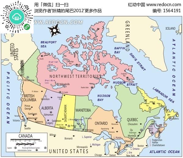 手绘北美洲彩色地图