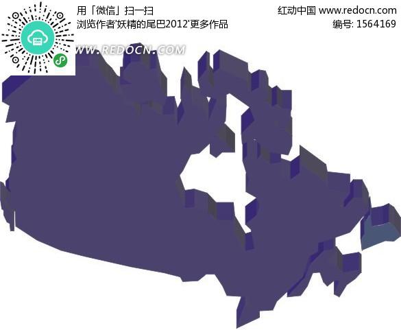 手繪紫色加拿大地圖矢量板塊