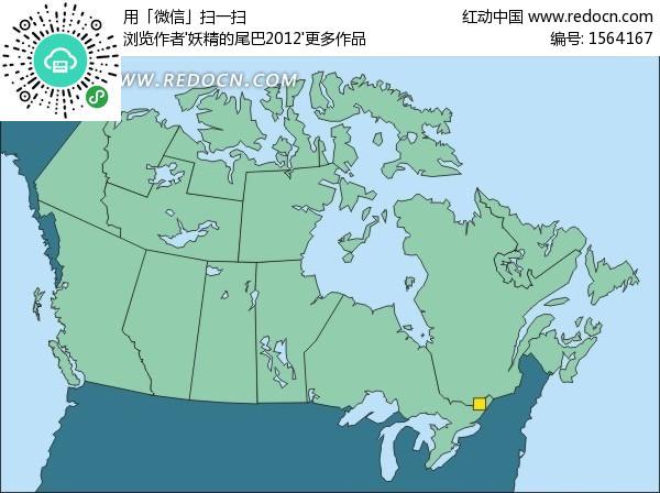 手绘北美洲地图上的绿色加拿大地图