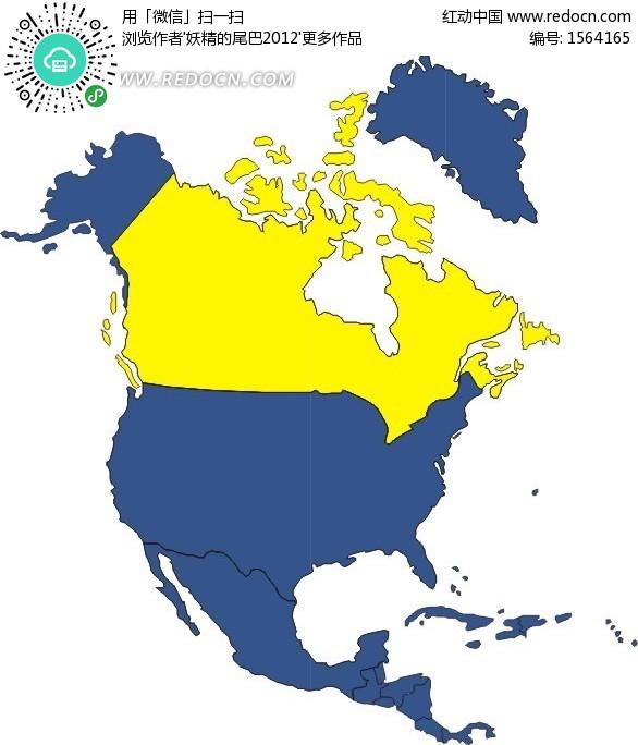手绘北美洲地图上的加拿大地图eps素材免费下载_红动网
