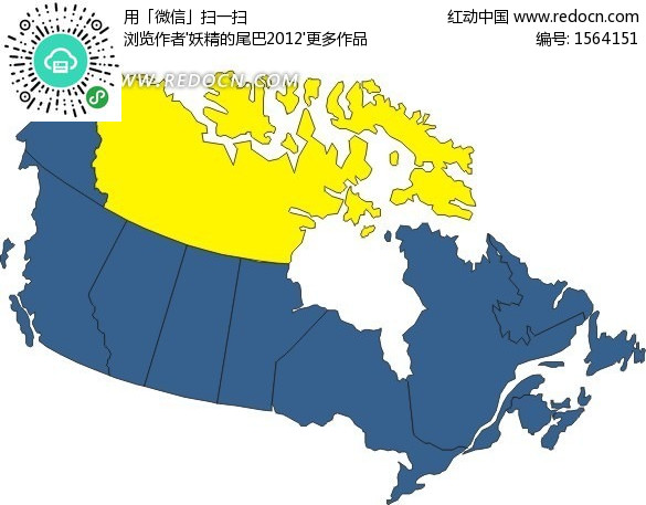 手繪加拿大地圖上的西北地區和努納武特地區