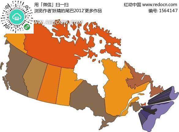手绘加拿大地图上的紫色新斯科舍省