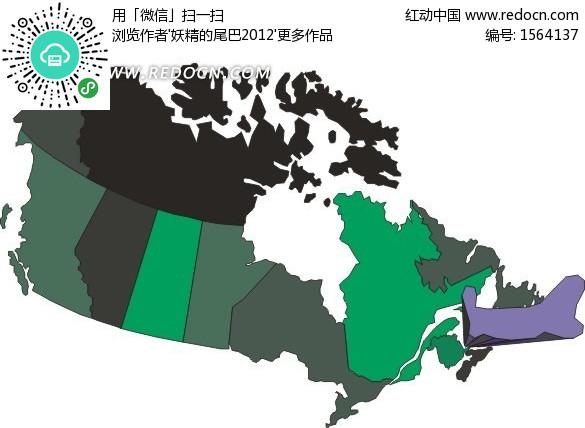 手繪加拿大地圖上的愛德華王子省