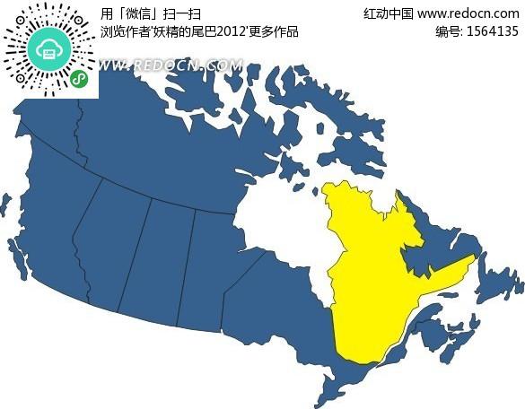 手繪加拿大地圖上的黃色魁北克省