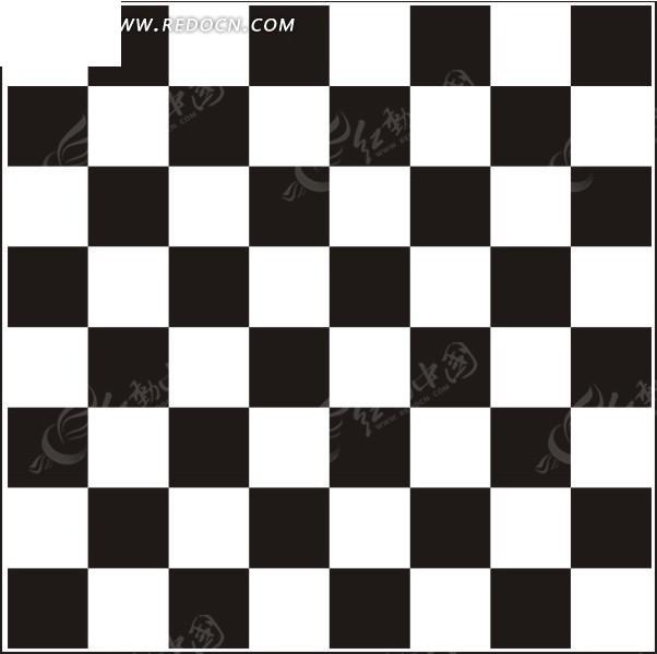 手绘黑白国际象棋棋盘