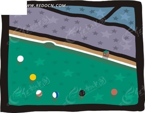 台球 手绘 桌球 矢量 插画  生活百科 矢量素材