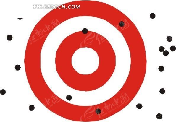 红色圈 白色圈 黑色点 插画 手绘 散落  生活百科 矢量素材
