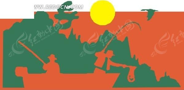 小船上甩杆钓鱼的人 手绘插画坐在小船上钓鱼 插画—彩色纸船上钓鱼的