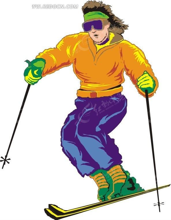 手绘滑雪的女人