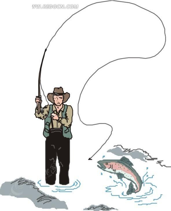 手绘钓鱼的人矢量素材