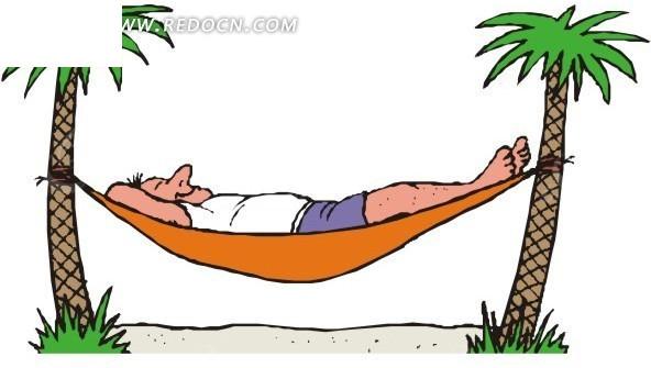 躺着吊床上的卡通人物