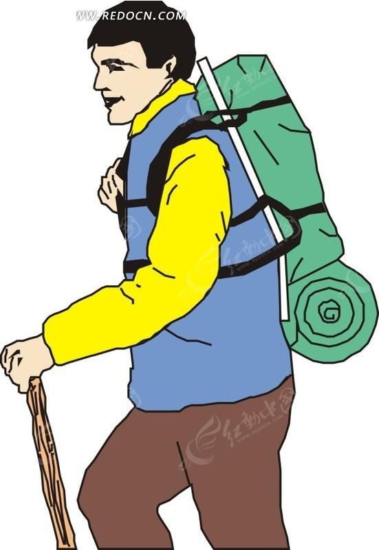 背包 棍子 男人 人物 矢量素材 矢量图 ai格式  生活百科图片