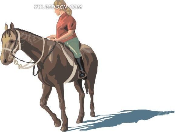 骑马的卡通美女