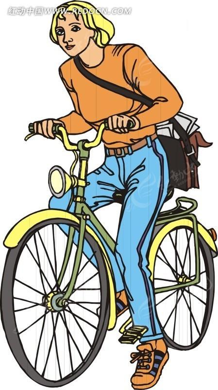 骑自行车的男人插画