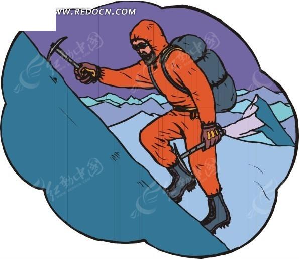 卡通画爬雪山的人图片