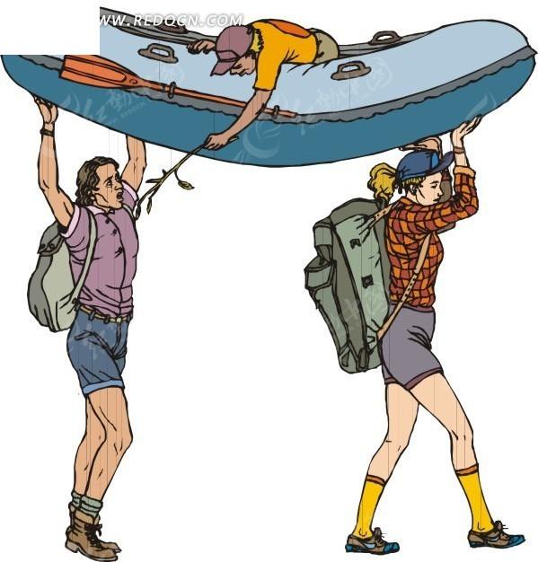 插画抬着皮划艇的一家人所罗门轮滑图片