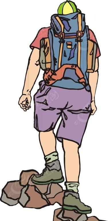 手绘插画徒步旅行的人