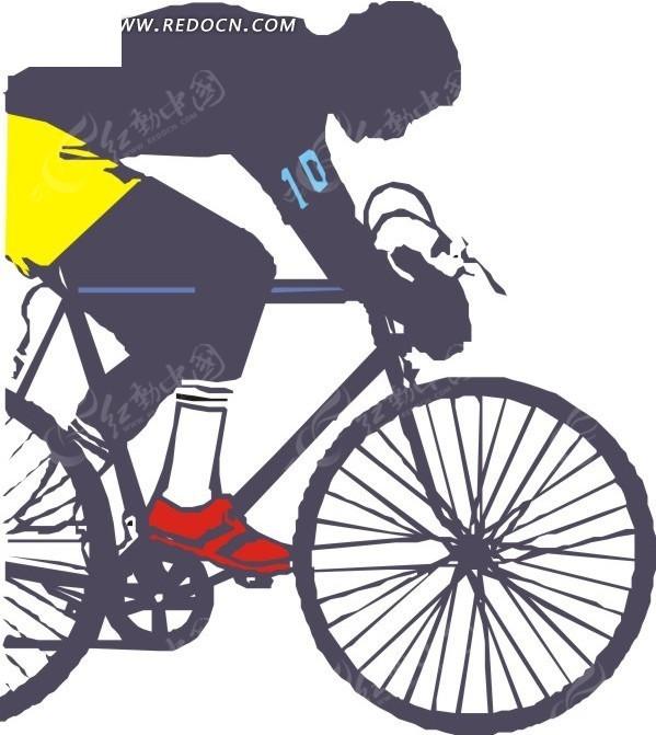手绘骑自行车的人eps素材免费下载_红动网