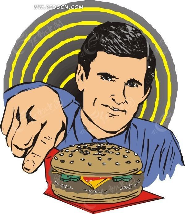手绘汉堡钱的男人