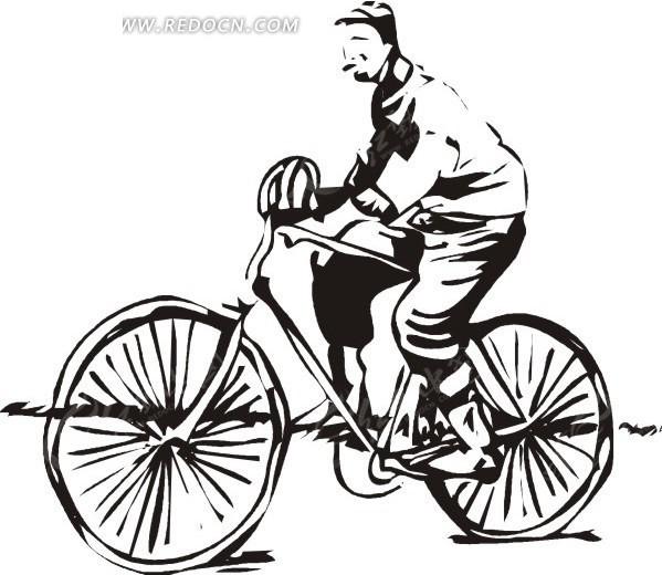 手绘线描骑车的人eps免费下载_体育运动素材