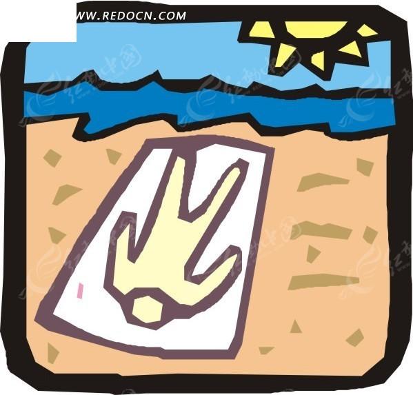 手绘躺在沙滩上的人物图案