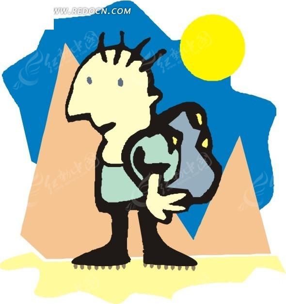 卡通画背着包的小矮人
