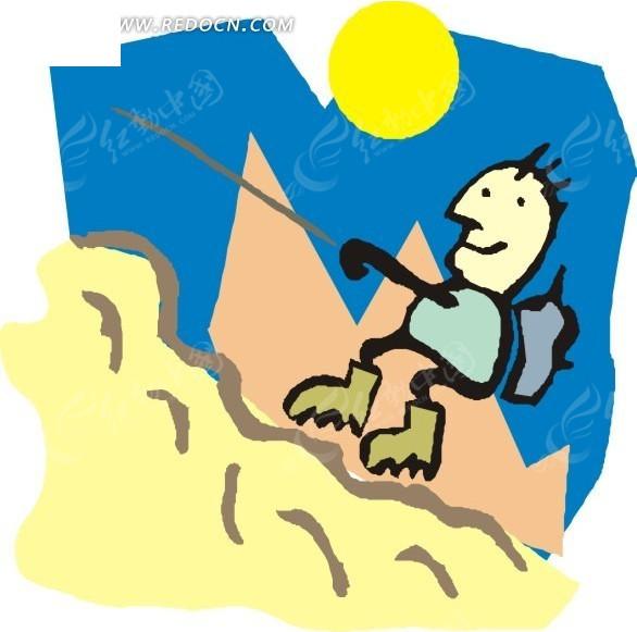 儿童插画爬山的人eps素材免费下载_红动网图片