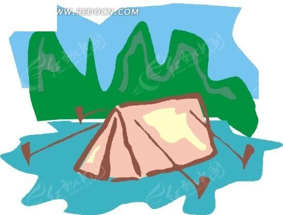 儿童手绘红色小帐篷