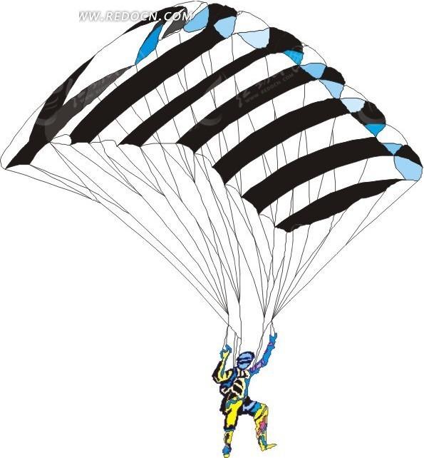 玩滑翔伞的人手绘素材矢量图_体育运动