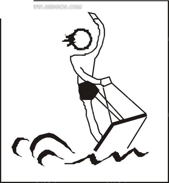 手绘玩冲浪的人物图案