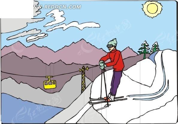 手绘插画高山滑雪的人物素材