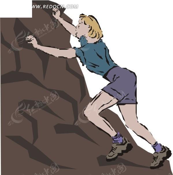 正在爬山的外国美女卡通画矢量图