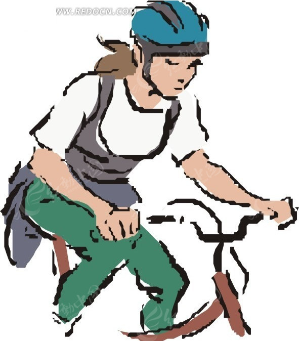 手绘骑自行车的美女