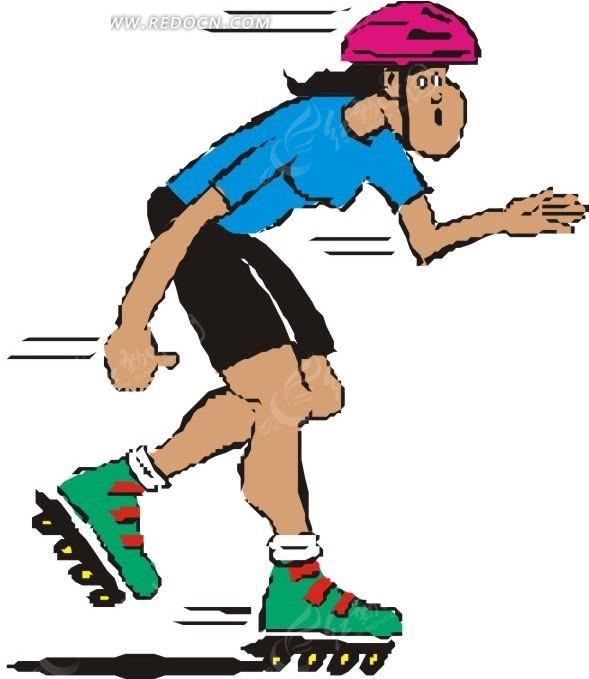 轮滑 滑冰 溜冰 旱冰 卡通画 插画 手绘 矢量素材 人物图片 卡通形象