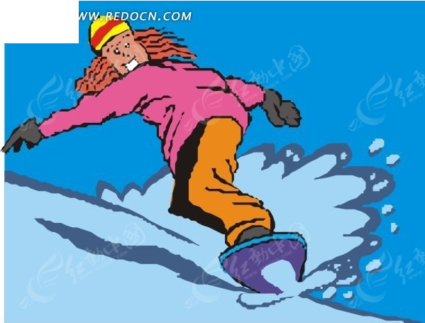 手绘插画雪地上滑雪的长发美女