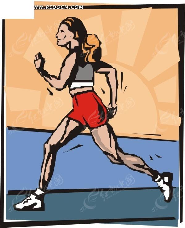 手绘插画跑步的长发女性