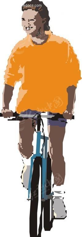 手绘一个骑自行车的黑人