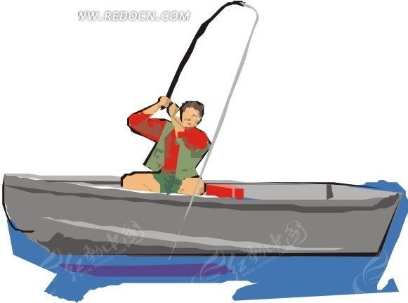 手绘一个坐在小船上钓鱼的人