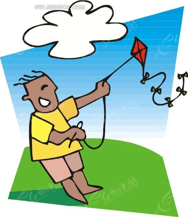 手绘放风筝的小孩