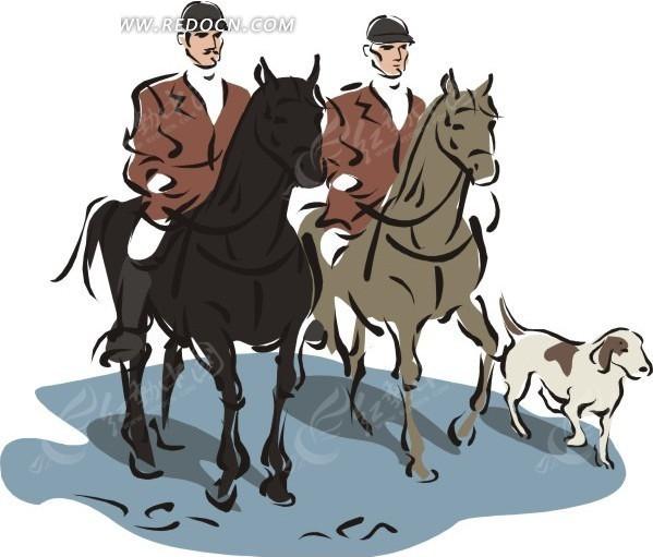 手绘骑马带着猎狗的人图片