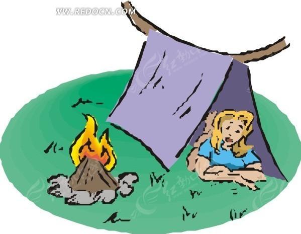 手绘插画趴在小帐篷里的美女
