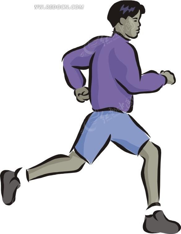 穿紫色衣服跑步的男人卡通画