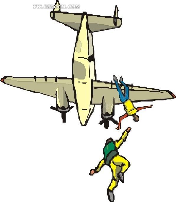 手绘从飞机上跳下的跳伞爱好者矢量图