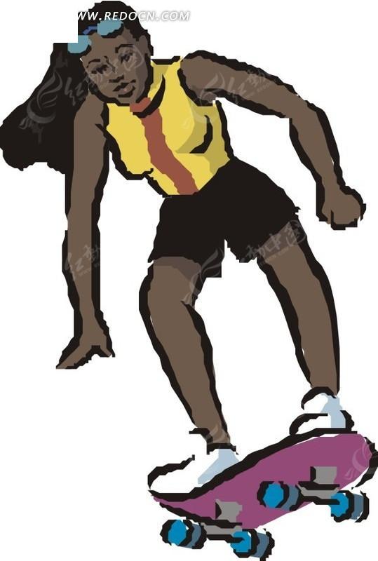 手绘玩滑板的黑人美女