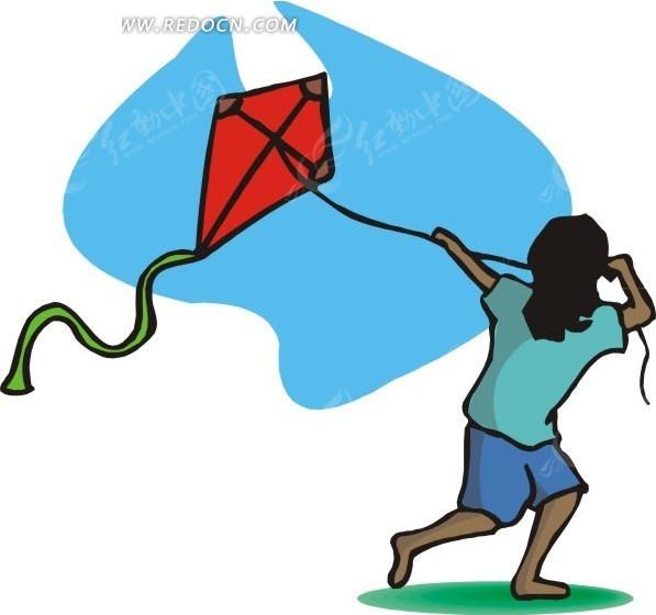 放风筝的女孩卡通画 体育运动 红动手机版图片