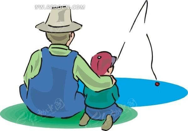 放风筝的男孩动漫画-男人和小孩背面卡通画矢量图 体育运动图片