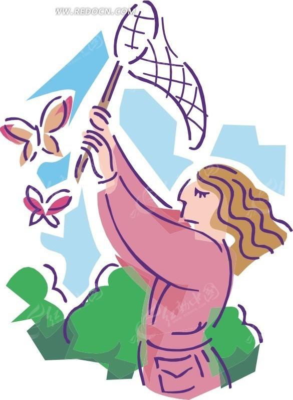 扑蝴蝶的美女卡通画