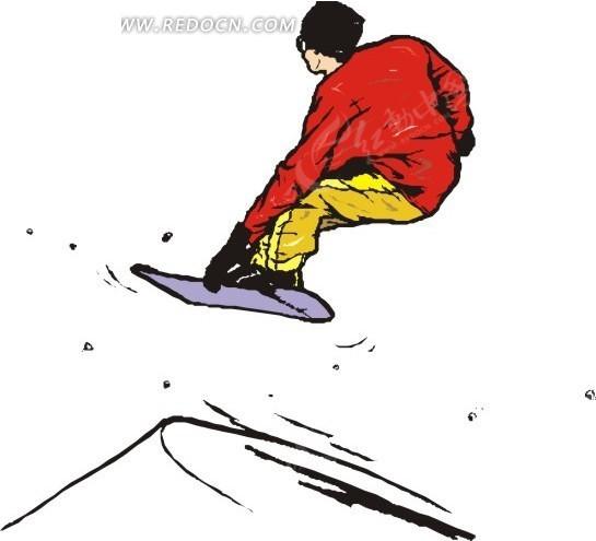 手绘插画滑雪的红衣男人