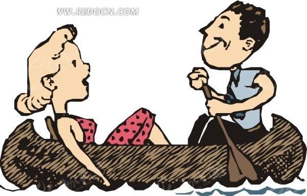 手绘坐在小木舟上的情侣